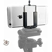 DaVoice Cell Phone Tripod Adapter Mount Holder Clamp Compatible with iPhone X XS Max XR Se 8 7 6 6s Plus Samsung Galaxy S9 S8 S7 S6 Edge Adjustable Smartphone Bracket Clip Cellphone Attachment (Black)