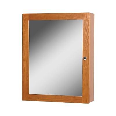 Foremost WROC1924  Worthington Oak Bathroom Medicine Cabinet - Oak vanity finish 1 mirrored door Satin Nickel hardware - shelves-cabinets, bathroom-fixtures-hardware, bathroom - 419c7G6 XwL. SS400  -