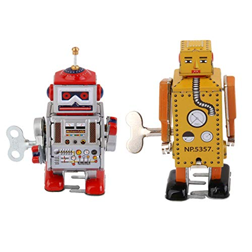 (Flameer Vintage Style Robot MS406 & MS651 Retro Clockwork Wind Up Tin Toy for Kids)