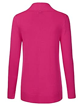 Jj Perfection Women's Open Front Knit Long Sleeve Pockets Sweater Cardigan Hotpink S 2