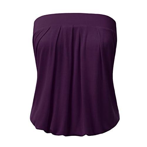 Cheap DRESSIS Womens Basic Sleeveless Pleated Tube Top