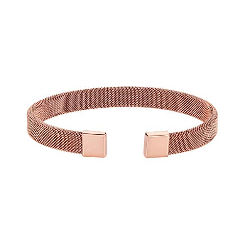 Caterina Jewelry Men's Stainless Steel Mesh Bracelet, Rose