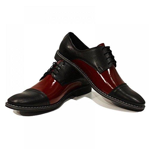 ElŽgant Chaussures Homme Noir & Bourgogne - Handmade Colorful italiennes Chaussures en cuir Oxfords Casual formelle haut de gamme uniques Chaussures Vintage Gift Lace Up Robe Hommes