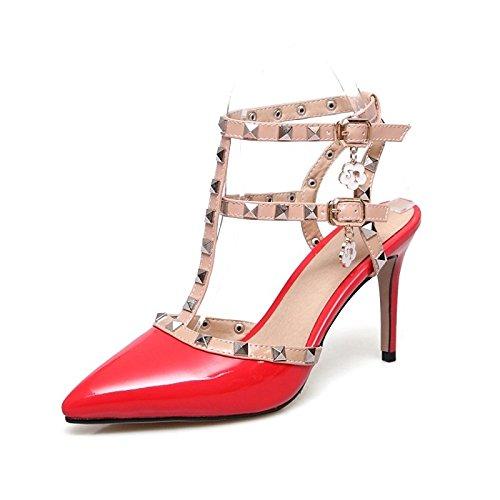 ZHZNVX Zapatos de mujer polipiel comodidad verano sandalias Stiletto talón señaló la convergencia/Remache hebilla para Boda/fiesta,noche Blanco/Negro/ Red