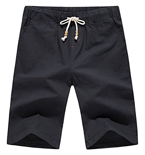 - Our Precious Men's Linen and Cotton Casual Classic Fit Short Black S