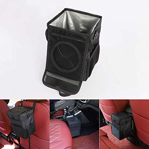 LLJEkieee Portable Car Trash Can with Lid Sides mesh Pockets,Front Fabric Pocket Hanging Litter Bin,Contaminate Vehicle Guaranteed, Premium Leak-Proof Vinyl Inside Lining