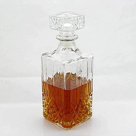 HLR Vasos de Whisky Jarra de Whisky Decantadores de Whisky de garrafa for espíritus 800ml Vidrio de la Vendimia Licor de Whisky de Cristal de Vino Botella de Bebida Decanter Jarra Bar