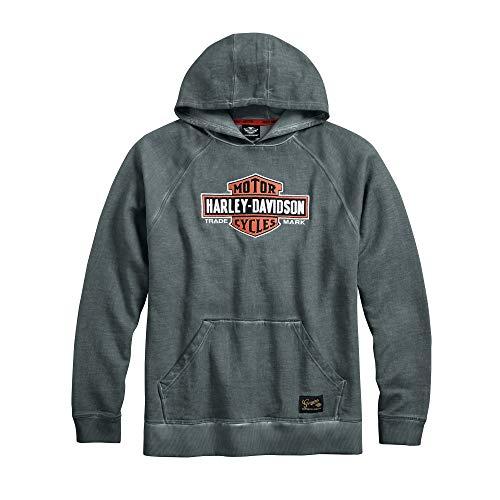 Harley-Davidson Mens Lightning Crest Fleece Pullover Sweatshirt Black