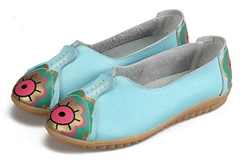 Aisun Women's New Sweet Low Cut Loafer Flats Shoes Blue Shn92OzMy