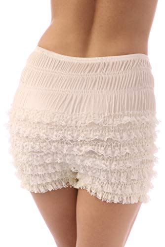 (Malco Modes Womens Sexy Ruffle Panties Tanga Dance Bloomers Sissy Booty Shorts (Ivory,)