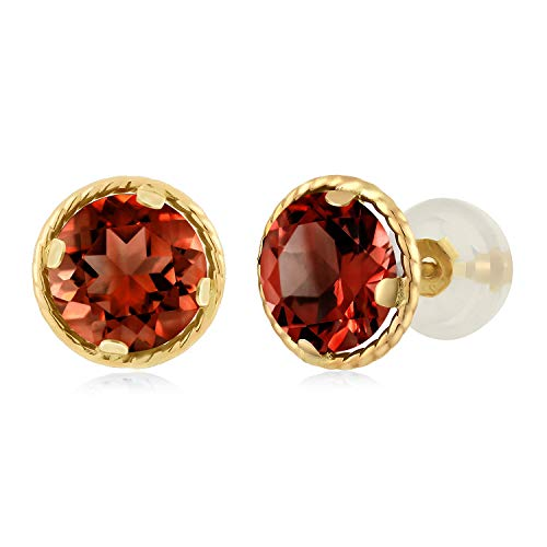 Gem Stone King 2.00 Ct Round 6mm Red Garnet 14K Yellow Gold Stud Earrings