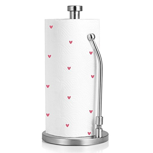 Paper Towel Holder, Kitchen Tissue Holder Paper Towel Dispenser Vertical Heavy Duty Stainless Steel Countertop Napkin Holders Roll Holder Up Makeup Remover Standing Tabletop