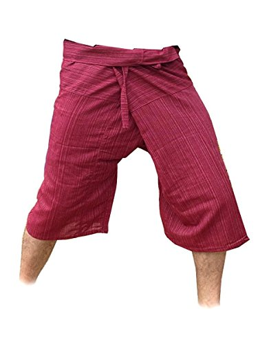 Thai Fisherman Yoga Pants Trousers Free Size 3/4 Cotton Stripe-Burgundy