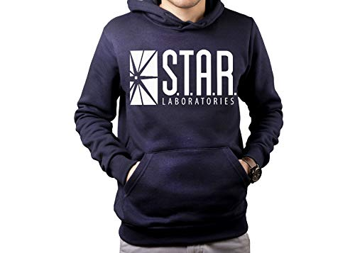 - fresh tees Star Laboratories S.T.A.R. Labs Hooded Sweatshirt (Small, Navy)