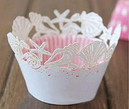 Wedding Cupcake Wrappers | Amazon Com Saitec Beautiful 48pcs White Seashell Laser Cut Lace