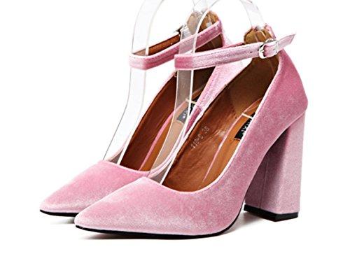 YCMDM Velvet Donne Zipper Buckle punta bocca superficiale alti calza scarpe di moda Singolo , pink , 35
