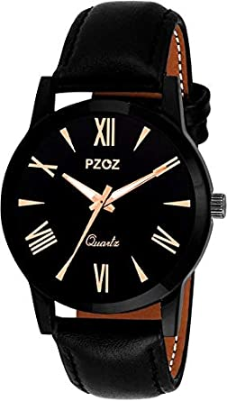 PZOZ Quartz Movement Analogue Display Black Dial Men's Watch