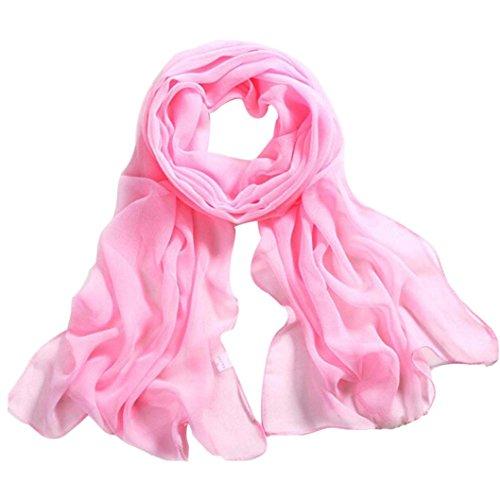 Deamyth Women Chiffon Scarves Lady Soft Long Shawl Wrap Scarf Solid Color (Pink)