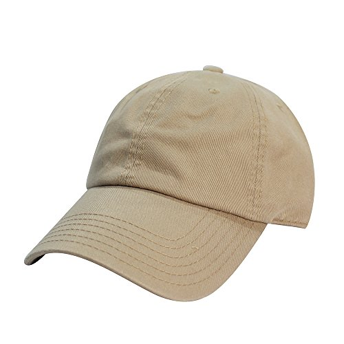 Hat Adjustable Blank Cap Low Profile Unstructured Polo Style (Khaki) (Khaki Unstructured Adjustable Cap)