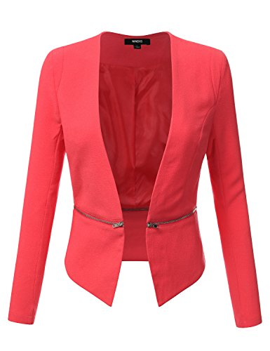 NINEXIS Women's Fitted Blazer with Detachable Length Zipper CORAL M (Tweed Fitted Blazer)
