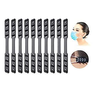 10 Pcs Ear Mask Hook Strap Buckle 4 Gears Adjustable Anti-Slip Ear Hook for Long time Wearing Ear Pressure Pain for Adults and Children. (black)