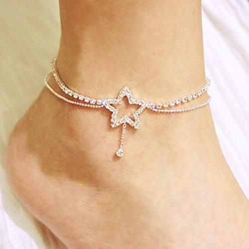 Bridal Sexy Crystal Star Shape w/Dangling Double Chains Fashion Design (Dangling Star Crystal)