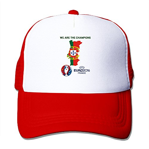 Price comparison product image Funny We Are The Champions PORTUGAL Football Adult Nylon Adjustable Mesh Hat Baseball Cap Red One Size Fits Most