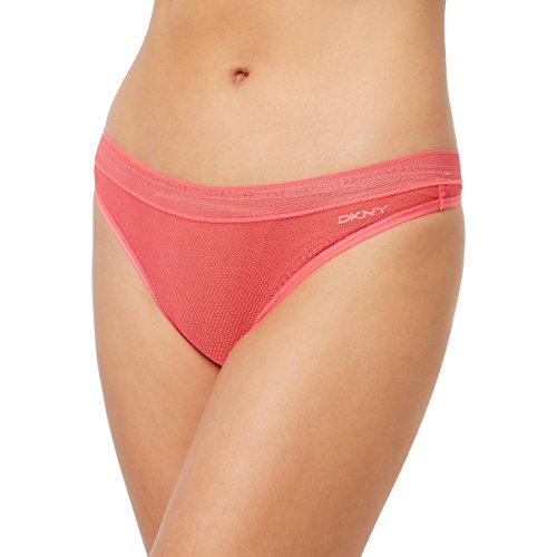 DKNY Womens Mesh Underwear Thong Pink M