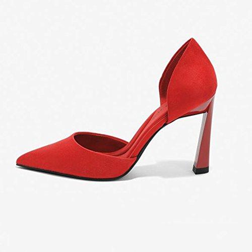 Alto Boca Zapatos De Apuntado De Mujer SUNNY Profunda Zapatos Citas Vestido Poco Red Moda Tacón Fiesta 5SYq85pxn