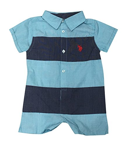 U.S. Polo Assn. Baby Boys Romper, Thicket Stripes Blue, 3-6 -