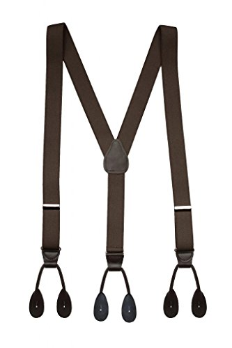 Hold'Em Suspender for Men Made in USA Y-Back Leather Trimmed button end tuxedo suspenders Many colors and designs - Brown (Regular 46