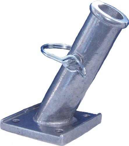 "Heavy Duty Cast Aluminum Flagpole Bracket 50 Degree Angle 1"" Diameter Pole Locking Pin"