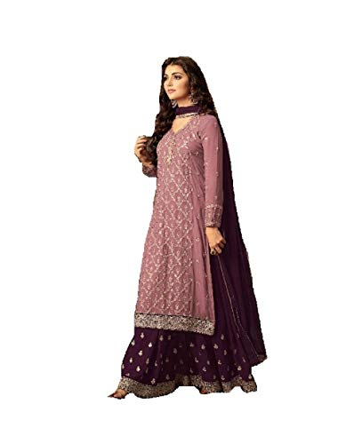 ziya Indian/Pakistani Ethnic wear Georgette Plaazo Salwar Kameez (Light Pink, XXL-46) by ziya