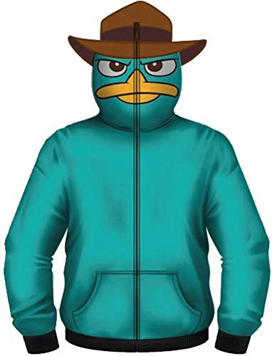 Phineas and Ferb Perry the Pet Platypus Turquoise Costume Hoodie Zip Up Sweatshirt (Adult (Phineas And Ferb Agent P Hoodie)