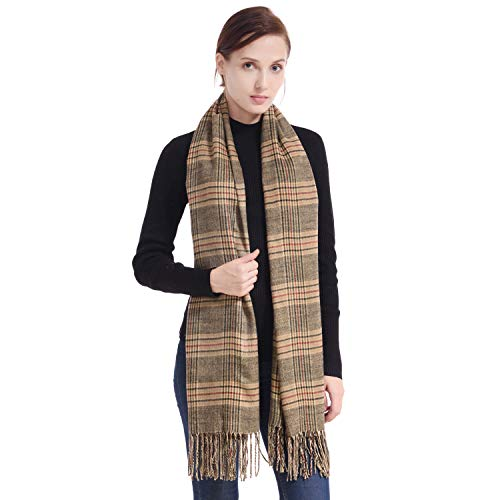 (LERDU Ladies Gift Idea Cashmere Tartan Pashmina Scarf Vintage Warm Wool Wrap Shawl Winter Stole for Women Gray Tartan)