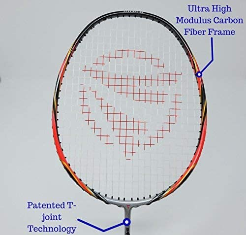 Dynamic Shuttle Sports Ares Red 68 Premium Carbon Fiber Indoor Outdoor Professional Badminton Racket with Cover – for Both Offensive and Defensive Players, Good for All Levels