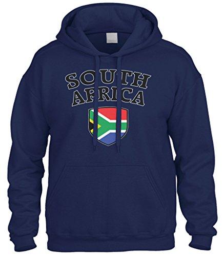 Cybertela South Africa Flag Crest Shield Sweatshirt Hoodie Hoody (Navy Blue, ()