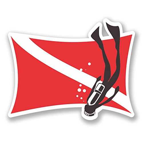 NI406 **2-Pack** Scuba Flag with Diver Vinyl Decal Sticker | 5-Inch By 3-Inch (Shark Scuba Diving Sticker compare prices)