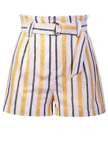 (Design by Olivia Women's Casual Stripe Belted Linen Beach Shorts Yellow S)