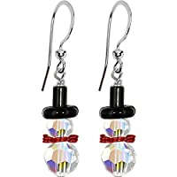 Handcrafted Snowman Earrings Created with Swarovski Crystals