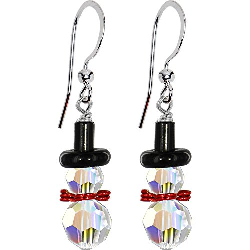 Handcrafted Snowman Earrings Created with Swarovski