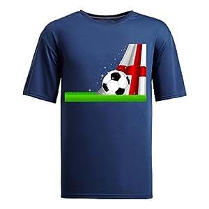 Custom Mens Cotton Short Sleeve Round Neck T-shirt,2014 Brazil FIFA World Cup Soccer England navy