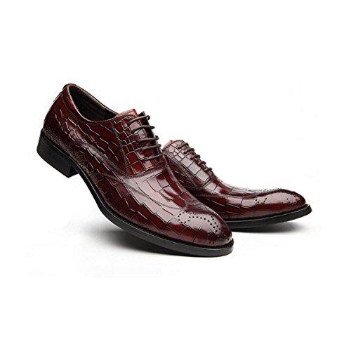 Lyzgf Mænd Ungdom Business Casual Mode Gentleman Gift Snøring Lædersko Rød mt5RnuaMoJ