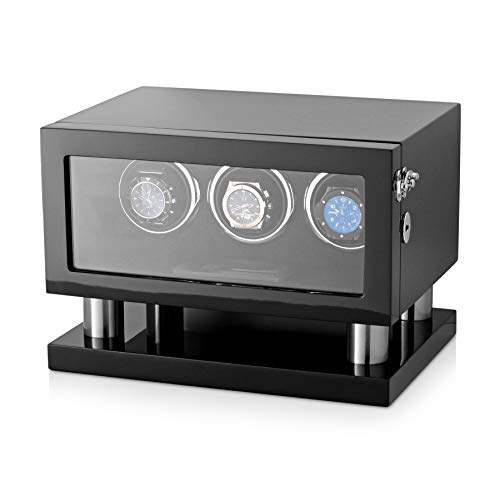 (Watch Winder Box for 3 Watches with LED Backlight, LCD Display and Motor-Stop Option (Black & Grey) )
