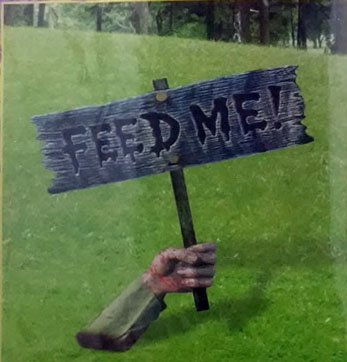 Zombie Feed Me Sign yard prop -