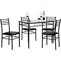 VECELO Dining Table with 4 Chairs Black