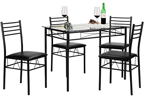 VECELO Dining Table with 4 Chairs Black (Table And Dining Room Chair)