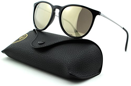 Ray-Ban RB4171 ERICA Unisex Aviator Sunglasses (Black Silver Frame, Gold Mirror Lens - Black Gold Aviator Ray Ban Frame Lens