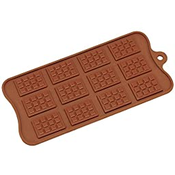 Freshware CB-615BR 12-Cavity Silicone Mini Rectangle Waffle Chocolate, Candy and Gummy Mold
