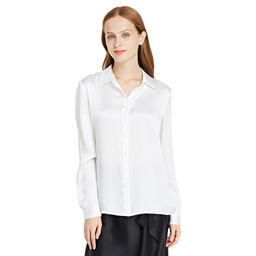 LilySilk Women's 100 Silk Shirts Long Sleeve Pure 22 Momme Charmeuse Button Down Elegant Ladies Tops White S/4-6